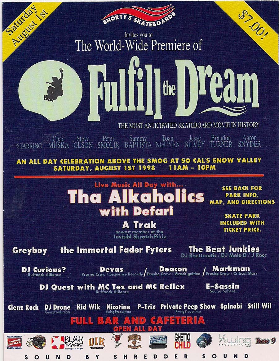 "Original flyer for the ""Fulfill The Dream"" premiere in 1998"