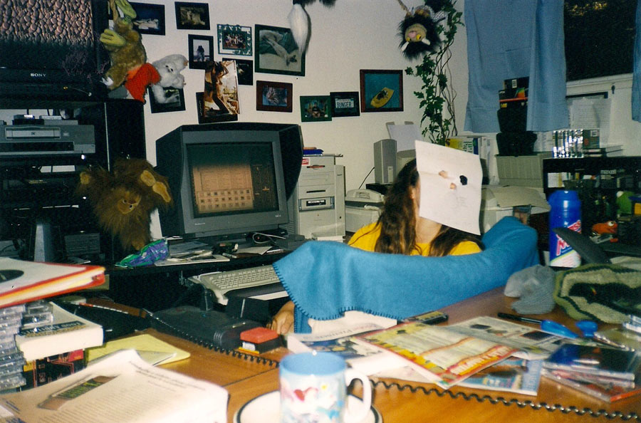 "April goofing off in the editing room. I bet most people would be surprised to hear that other than Muska's part the entire ""Fulfill The Dream"" video was edited by the owner of the company's girlfriend."
