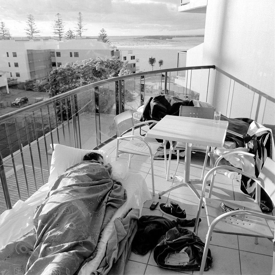 JohnCardiel Sleeping on a terrace in Tent City