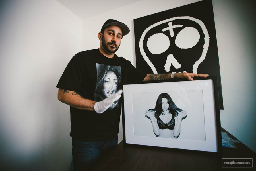 van styles with his work / photo: the hundreds