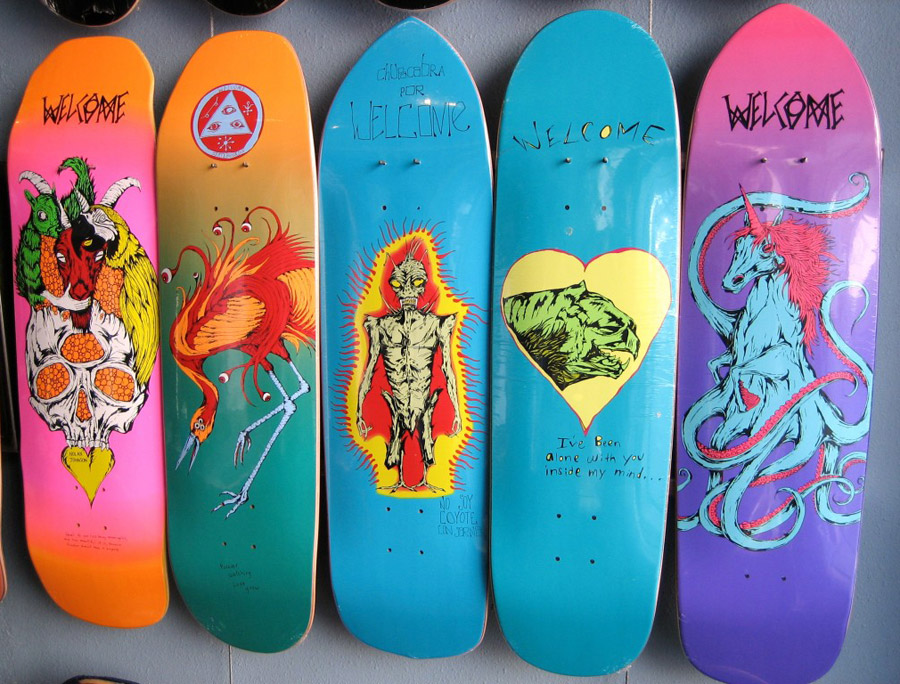 welcome skateboard shapes / photo courtesy of prestige skateboards