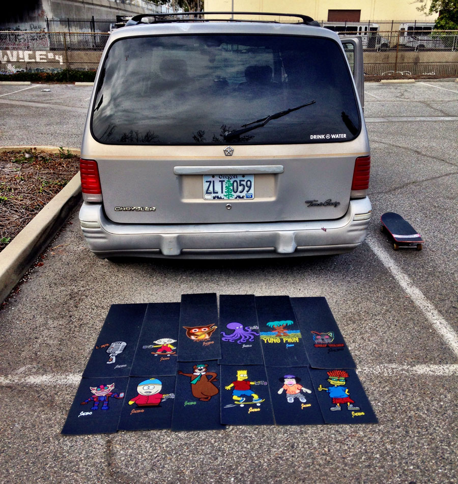 sebo's van and his custom griptape art / photo: sebo walker