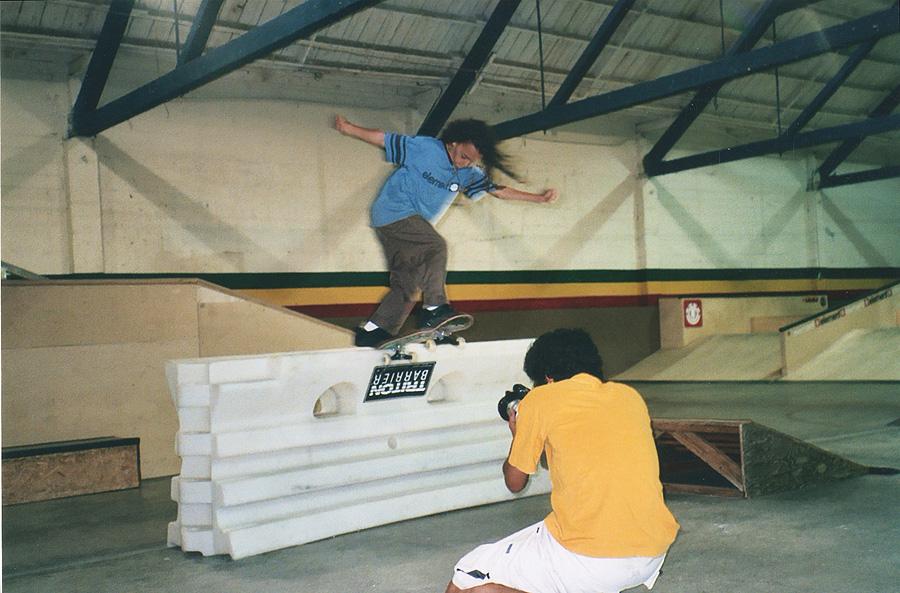 nyjah filming with his dad at their skatepark / photo: kelle huston