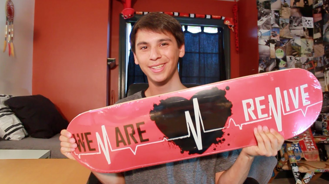 Youtube star, Josh Katz showing off his board in a video