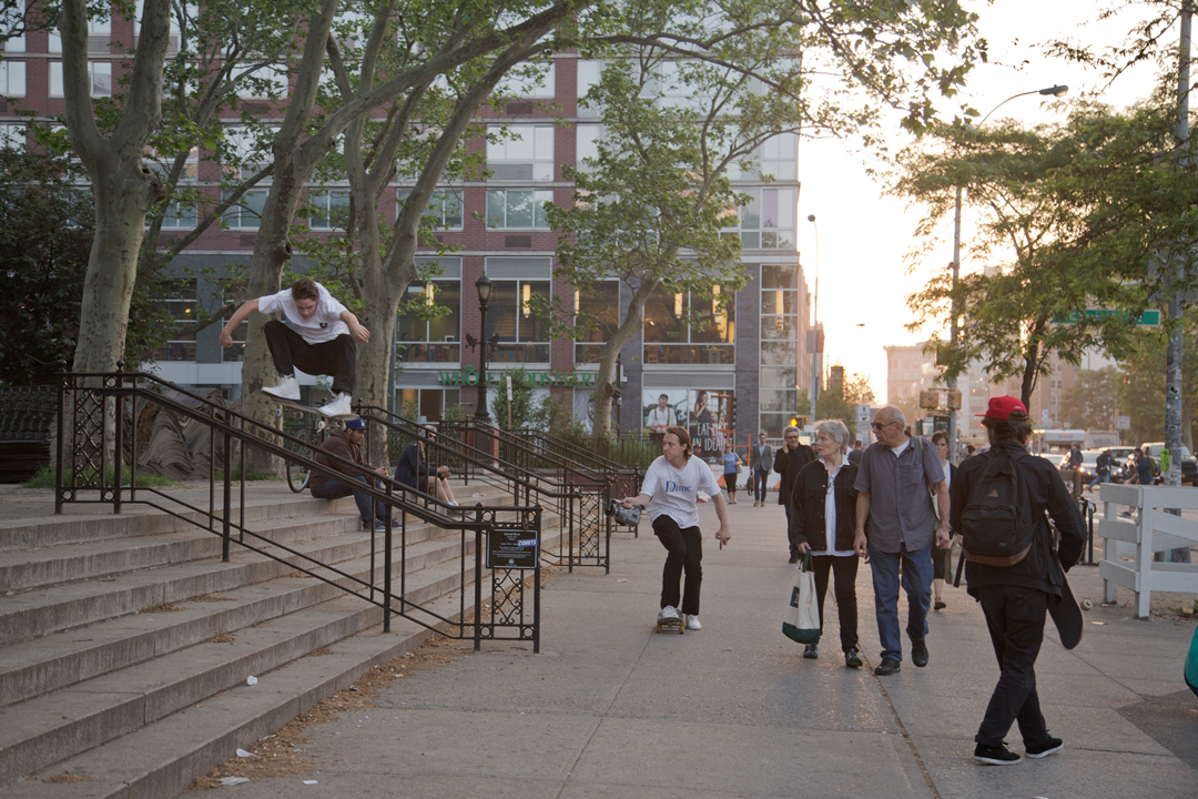 Josh Wilson ollies in Houston Park, NYC with Peter Sidlauskas dodging the tourists and getting the clip.