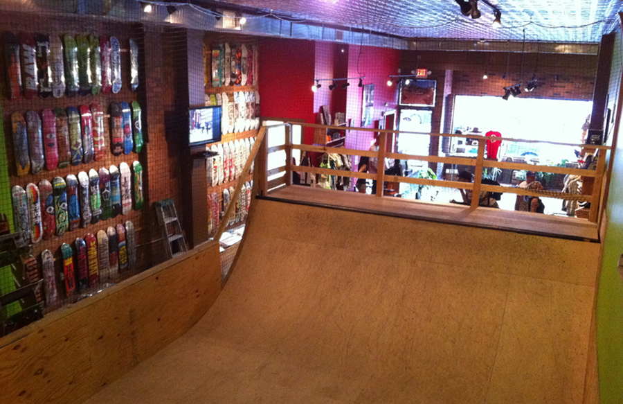 the mini ramp at orchard skateshop in boston