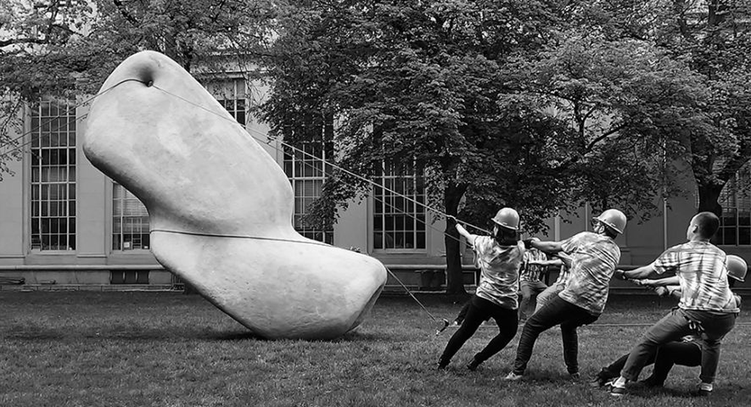 sablone and her classmates at mit putting up their mcknelly megalith