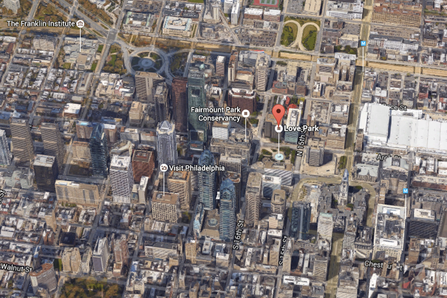 satellite view of love park showing its central location