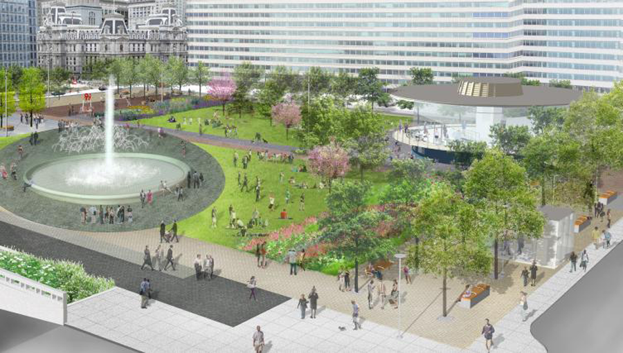 rendering of redesign of love park