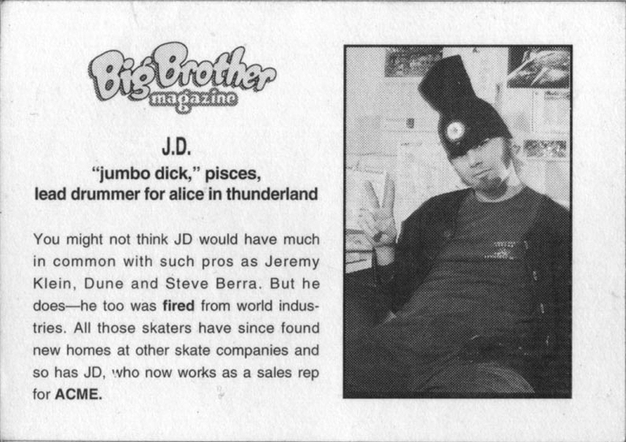 back of jd's trading card / scan: skately